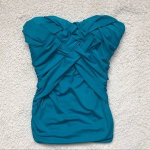 Bebe Blue Strapless form fitting top size XS